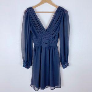 ASOS Chiffon Blue Beaded Cuff Mini V-Neck Dress 2